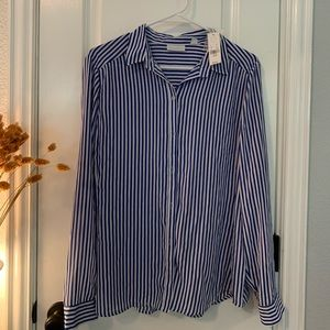 New York & company blue and white button up shirt